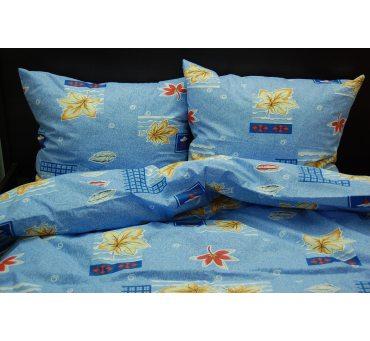 Pościel bawełniana - 160x200 - Liście na niebieskim tle - na prezent