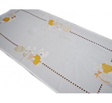 Bieżnik haftowany  55x120 cm Zajączki Żółte 18326 Wielkanoc