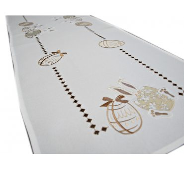 Bieżnik haftowany  40x140 cm Zajączki Brązowe  18326 Wielkanoc
