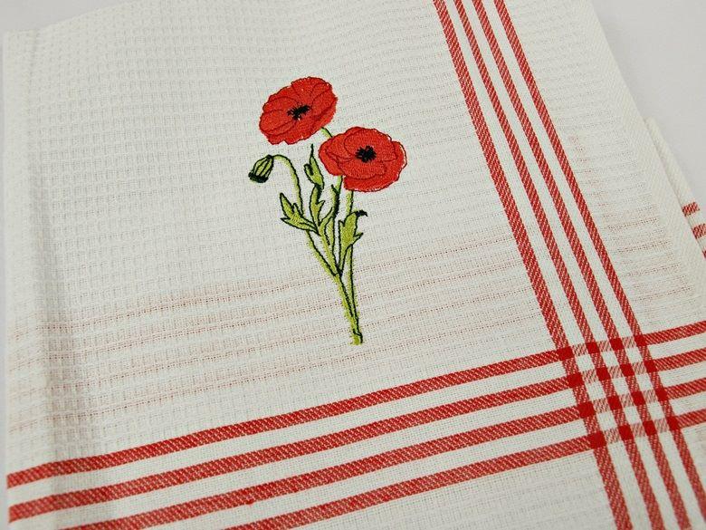 Kpl ściereczek Kuchennych Czerwone Maki 50x70 3 Szt