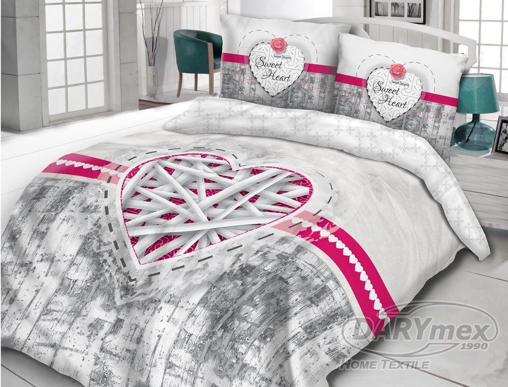 Pościel Bawełniana Vintage Biało Szaro Różowa Słodkie Serce 160x200 Wz 614211