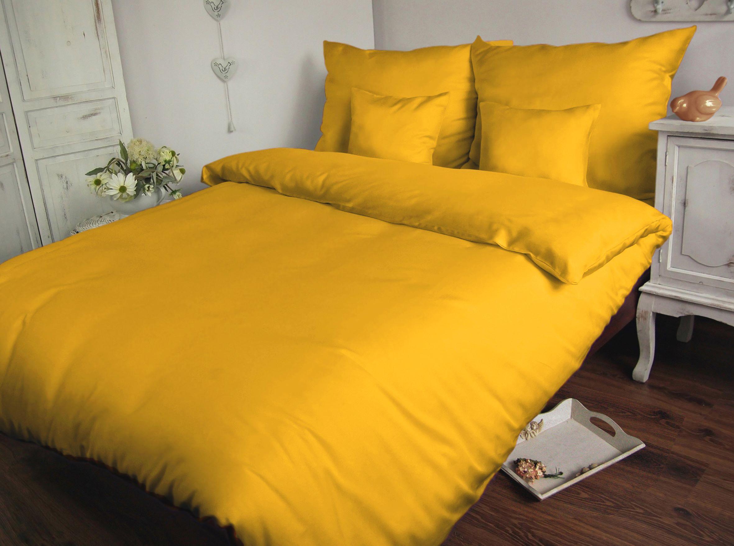 Pościel Satynowa Jednobarwna 180 X 200 żółty Carmen 004